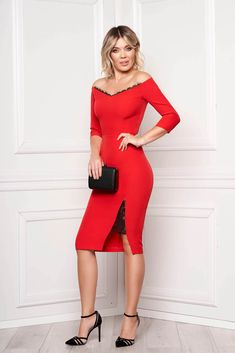 StarShinerS red dress elegant midi pencil cloth thin fabric with sleeves naked shoulders with lace details Trade Show, Interior Design Living Room, Lace Detail, Design Trends, Fabric, Sleeves, Clothes, Bb, Women's Fashion Dresses