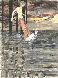 Hernan Bas. The Ones That Got Away. 2003. Gouache, oil, watercolour, pencil -  Found on moma.org