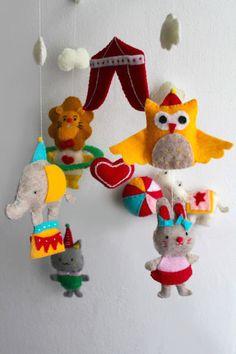Baby Crib Mobile Circus Style - Felt Mobile Owl, Hippo, Elephant, Lion, Rabbit, Cat. $75.00, via Etsy.