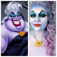 The Little Mermaid Ursula costume makeup tutorial. we should be ariel and Ursula for Halloween I call ursala Costume Halloween, Halloween Look, Holidays Halloween, Halloween Face Makeup, Ursula Costume Diy, Creepy Halloween, Disney Halloween Makeup, Amazing Halloween Costumes, Joker Costume
