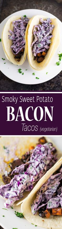 Smoky bacon, sweet potato & black bean tacos with homemade cilantro lime slaw. A delicious vegetarian recipe made with Sweet Earth Benevolent Bacon! #ad @sweetearthfoods
