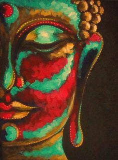 "ORIGINAL BUDDHA ACRYLIC PAINTING 9"" X 12"" BY CYRA #Impressionism"