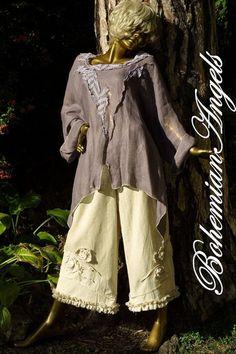 Lagenlook Bloomers Oversized Linen Pants Art to by BohemianAngels