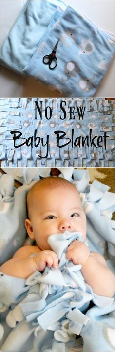 Step by Step instructions with pictures on how to make a no sew baby blanket. This no sew fleece blanket makes a great inexpensive baby shower gift.