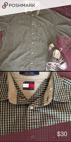 Tommy Hilfiger button down Green/beige checkered shirt. Great condition just doesn't fit. Open to offers! Tommy Hilfiger Shirts Casual Button Down Shirts