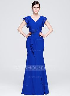b9a72def0e5 Trumpet Mermaid V-neck Floor-Length Ruffle Beading Appliques Lace Sequins  Cascading Ruffles Zipper Up Regular Straps Short Sleeves No Royal Blue  Spring ...