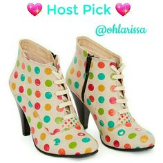 """Host Pick Beige Vintage Polka Dot Bootie This sleek vintage boot is one of it's kind. Hand crafted to give you that heirloom worthy architectural appeal.  This runs in European sizing... Made in Turkey  4"""" heel Lace-up / side zip closure Man-made  Cotton lining Cotton footbed Thermoplastic sole Goby Shoes Heeled Boots"""