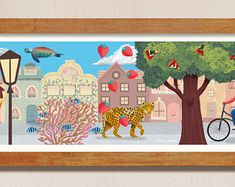 Modern illustration prints and wall art by VanessaFrancesStudio #crazy #dream #jaguar #illustration #prints #etsy Modern Art, Contemporary Art, New Beginnings, Jaguar, Wall Art Decor, Abstract Art, Etsy Seller, Interior Decorating, Delicate