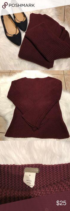 Jcrew Maroon Sweater Beautiful maroon Jcrew sweater. 100% cotton. Arm: 22' bust: 15' length: 21' J. Crew Sweaters Crew & Scoop Necks
