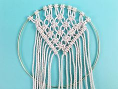 Learn how to make a DIY macrame wall hanging in a brass ring, in this free macrame tutorial pattern from Brooklyn Craft Company. Macrame Supplies, Macrame Projects, Macrame Rings, Macrame Knots, Dream Catcher Tutorial, Half Hitch Knot, Macrame Wall Hanging Diy, Creative Arts And Crafts, Granny Square Crochet Pattern