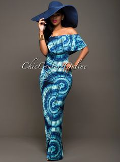 Chic Couture Online - Calypso Turquoise Tie-Dye Off-The-Shoulder Maxi Dress.(http://www.chiccoutureonline.com/calypso-turquoise-tie-dye-off-the-shoulder-maxi-dress/)