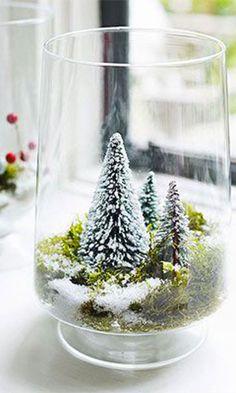 Modern Christmas Crafts - DIY Miniature Winter Wonderland in Vase {so cute} . - Modern Christmas Crafts – DIY Miniature Winter Wonderland in Vase {so cute} – - Noel Christmas, Winter Christmas, All Things Christmas, Christmas Crafts, Christmas Ornaments, Modern Christmas Decor, Vintage Christmas, Christmas Vignette, Winter Diy