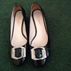 Authentic Sailor buckle shoes Set to sail. Black soft leather flats with accented silver tone signature buckles in ties.1.5' heels. Rubber signature soles. SUPER comfy & cute for all occasions Prada Shoes Flats & Loafers