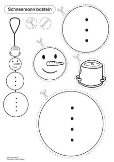 Bastelvorlage für einen Schneemann Snowflake Coloring Pages, Coloring Pages For Kids, Snowman Crafts, Christmas Crafts, Crochet Pillow Cases, Snowflake Craft, Diy Crafts To Do, Winter Crafts For Kids, Chalk Pastels