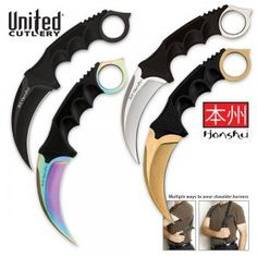 """Counter-Strike: Global Offensive fans get your skinned karambits here today! This is a set of four United Cutlery premium Honshu Karambits at an incredible price. You get the silver, stonewashed gold, anodized rainbow and black oxide finishes. Each karambit has a blade of 4"""" 7Cr13 rust-resistant stainless steel and a textured handle. They are 8…"""