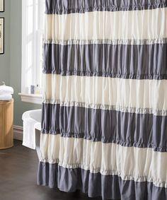 Another great find on #zulily! Gray & White Isla Shower Curtain #zulilyfinds