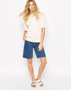 $90, Blue Denim Shorts: Bethnals Murphy Longline Denim Shorts. Sold by Asos. Click for more info: https://lookastic.com/women/shop_items/280479/redirect