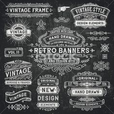 Chalkboard Banners and Frames Royalty Free Stock Vector Art Illustration