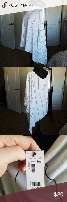 Summerweight Cape/Poncho When I bought this item, I pictured strolling the beach at night or early in the morning. Instead I have a toddler and a baby who screams in the car, so we'll just stay home! Soft, lightweight material. White with navy stripes. Drapes beautifully. The Limited Jackets & Coats Capes