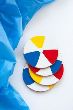 DIY Summer Beach Ball Coasters - Dollar Store Crafts