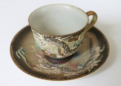 Japanese Dragon Tea Cup and Saucer Set Hand Painted by Garnet Row