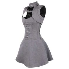 Herringbone overbust corset dress with bolero gray - Gothic Steampunk Vintage
