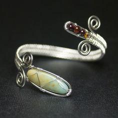 mossandmist on Etsy + 2 wire woven bracelet with bound gemstone beads, spiral scrolls