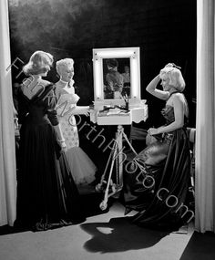 Lauren Bacall, Betty Grable, and Marilyn Monroe Set of How to Marry a Millionaire 1953