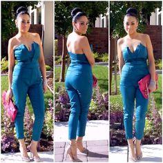 Mart Of China Sexy Off The Shoulder Green Jumpsuit For Woman, Love Culture Clutch, Zara Heels, Shop Elle B Royal Teardrop Earrings