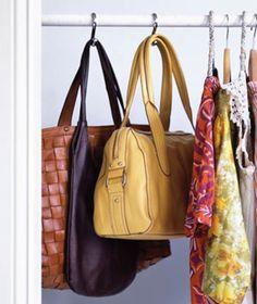 20 Closet Organization Tips & Tricks: purse hangers