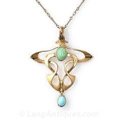 Turquoise Art Nouveau Necklace