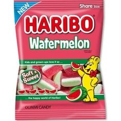 Haribo Watermelon Gummi Candy, OZ : NEW for 2019 Haribo Watermelon Gummi Candy, oz Sweet Watermelon, Gummi Candy, Kids Cooking Recipes, Gourmet Recipes, Fini Tubes, Haribo Gummy Bears, Haribo Sweets, Sour Candy, Packaging