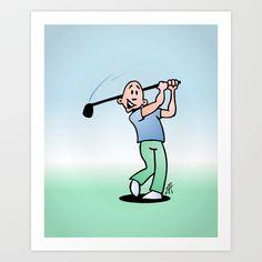 Golf, golfer taking a swing at it. Art Print by Cardvibes - $17.68 #Society6 #Cardvibes #Tekenaartje