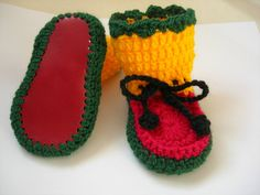 Rasta Baby booties Hand crocheted Size 3 to 6 by CrochetKat1952, £6.00
