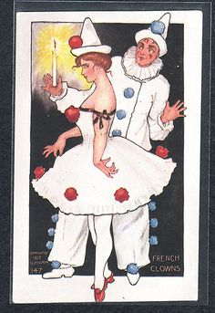 ictorian LADY Man PIERROT French CLOWNS Old Antique Vintage 1907 Postcard