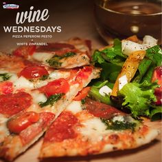 We recommend pairing Pizza Pepperoni Pesto with a glass of White Zinfandel for #WineWendesday. What's your perfect pairing? #gotitfree