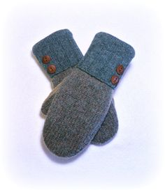 100 WOOL WOMEN'S Recycled Sweater Mittens by DesignItAgainCrafts