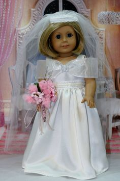 American Girl doll fashion Anya wedding gown with full length veil by ElegantDollFashions on Etsy