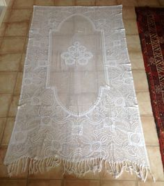Very Long Vintage White Shabby Chic French Filet Lace Cotton Curtain, Tassels on the Scalloped Edge. Obvious Repairs. Ideal for a Project. by FleursEnFrance on Etsy