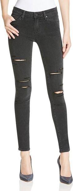 Paige Verdugo Ultra Skinny Jeans in Black Fog Destructed as seen on Rosie Huntington-Whiteley