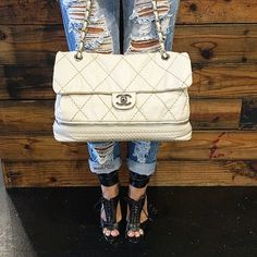 Our style picks for the week! Chanel bag, Brian Atwood Lace Up Heels & ripped jeans! Bag & shoes are available to purchase on www.mymoshposh.com! #fashion #trendy #style #summerstyle #rippedjeans #chanel #chanelbags #brianatwood #brianatwoodheels #purselover #shoelover #purseblog #talkshoes #socute #inlove #mymoshposh #moshposhfinds #designerhandbags #designershoes #designerconsignment