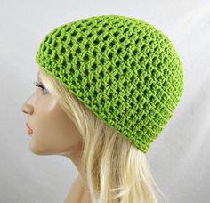 Lime Green Beanie, Womens Crochet Hat, Crochet Skull Cap, Lime Green Winter Hat, Lime Green Crochet Beanie