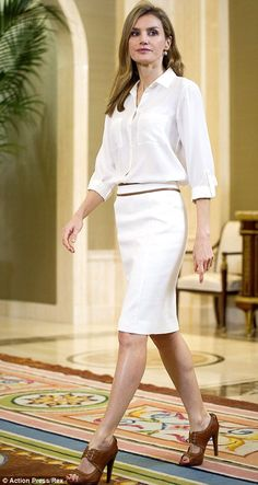 Like the Duchess of Cambridge, Letizia is fond of clean, sleek tailoring with cinched in waists to emphasise her trim figure