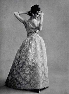 Lace evening gown by Jean Patou, 1960