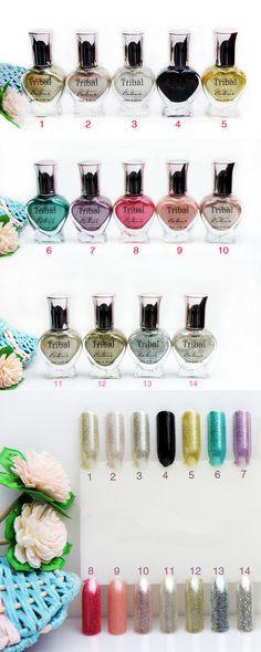 $4.61 1pc Tribal Colorful Glitter Sparkle Shimmer Metal Nail Art Holo Polish - BornPrettyStore.com #10, 13, 14