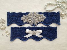 Something blue? Wedding garter - navy blue by venusshop, $19.90