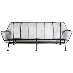 """Woodard Wrought Iron with Mesh Outdoor Garden Couch , 1st dibs, 72""""w, excellent condition, $4500"""