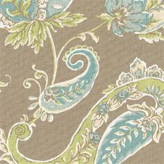 Beacon Hill Sand Tan Paisley Floral Cotton Drapery Fabric by Roth and Thompkins - 55983 - BuyFabrics.com