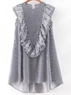Navy Sleeveless Ruffle Dipped Hem Zipper Dress -SheIn(abaday)