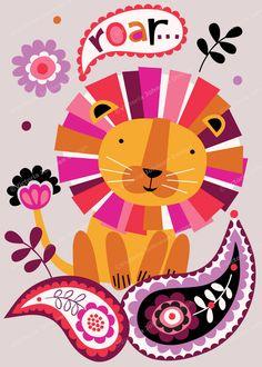roaring lion paisley design illustration print greetings card  victoriajohnsondesign.com